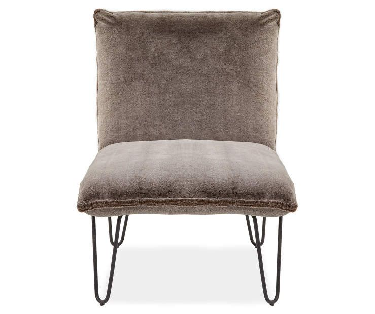 Astounding Brown Faux Fur Armless Accent Chair Beautiful Spaces Alphanode Cool Chair Designs And Ideas Alphanodeonline