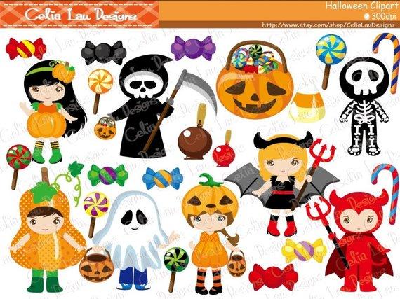 Halloween Clipart Trick Or Treat Digital Clipart Trick Or Treat Clipart Instant Download Cg076 Halloween Clipart Kawaii Halloween Cute Halloween