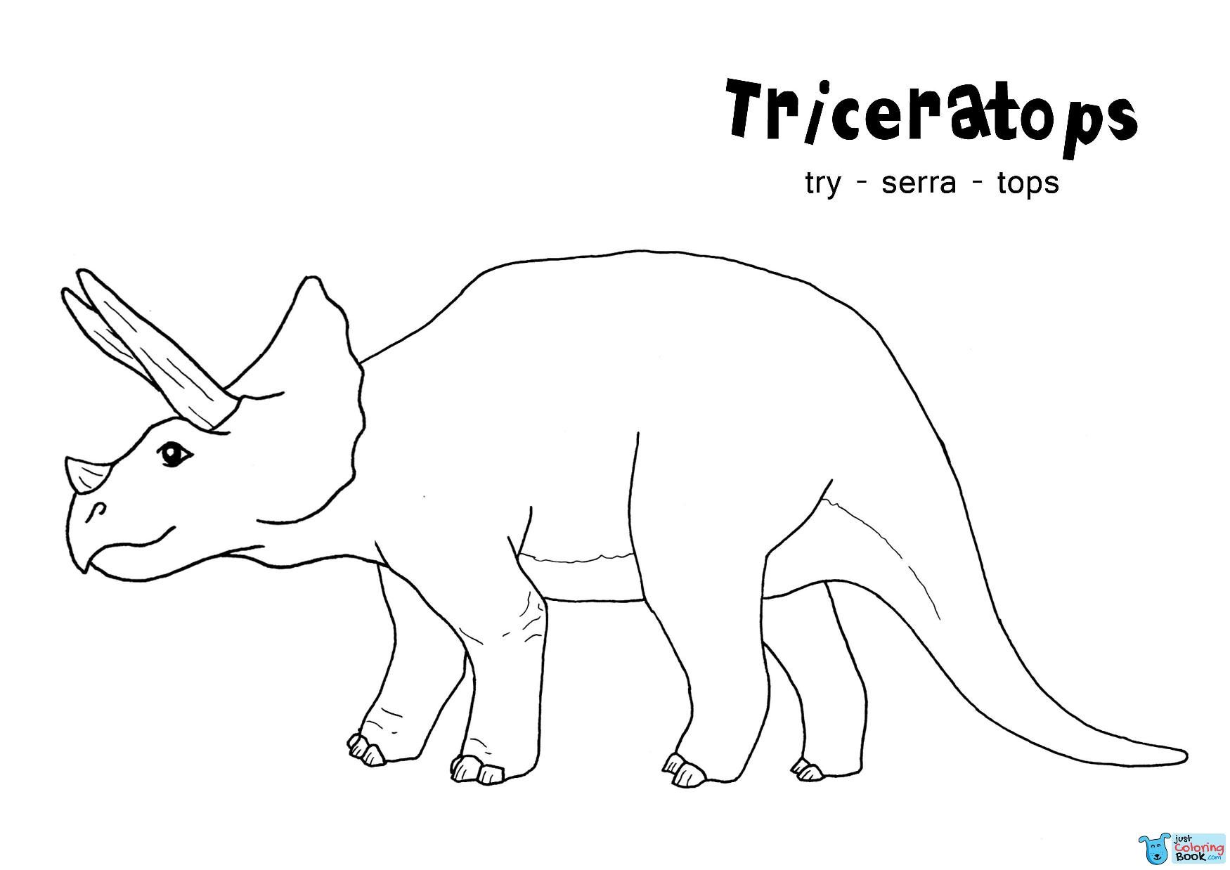Animal Coloring Triceratops Coloring Pages Printable Dinosaurs