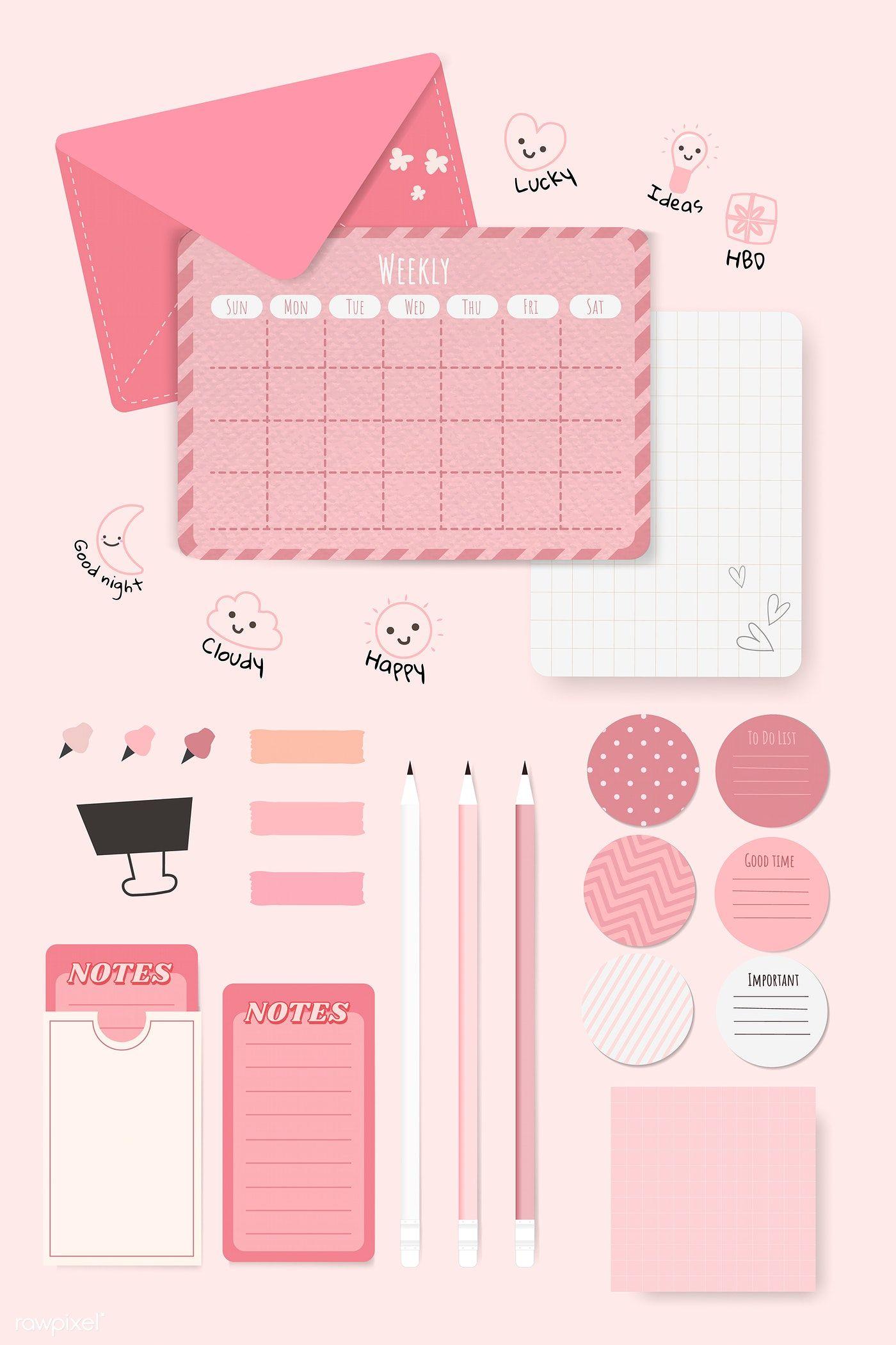 Download Premium Vector Of Pink Stationery Planner Set Vector 1209417 Pink Stationery Planner Stationery Planner Set