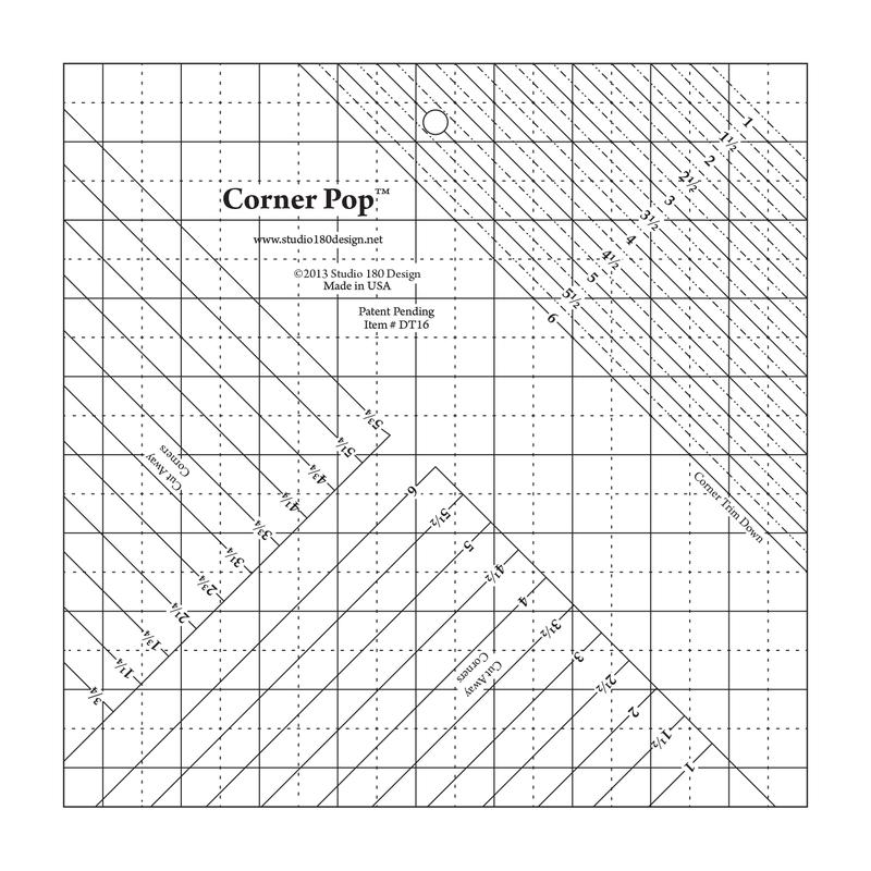 Using the corner pop ruler for making folded corners on