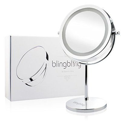 Blingbling 7inch 10x Magnifying Lighted Makeup Mirror Vanity Mirror Led Double Sided Illuminate Mirror With Lights Makeup Mirror With Lights Adjustable Mirror