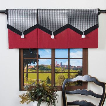Design Your Valance Houndstooth 3 Panel Valance Contemporary