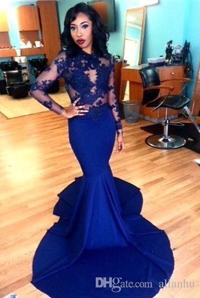 f39e4c118b 2016 Royal Blue Prom Dresses Mermaid See Through Long Sleeve Lace Appliques  Formal Vestido De Festa Longo Evening Gowns Dubai Party Dresses Online with  ...