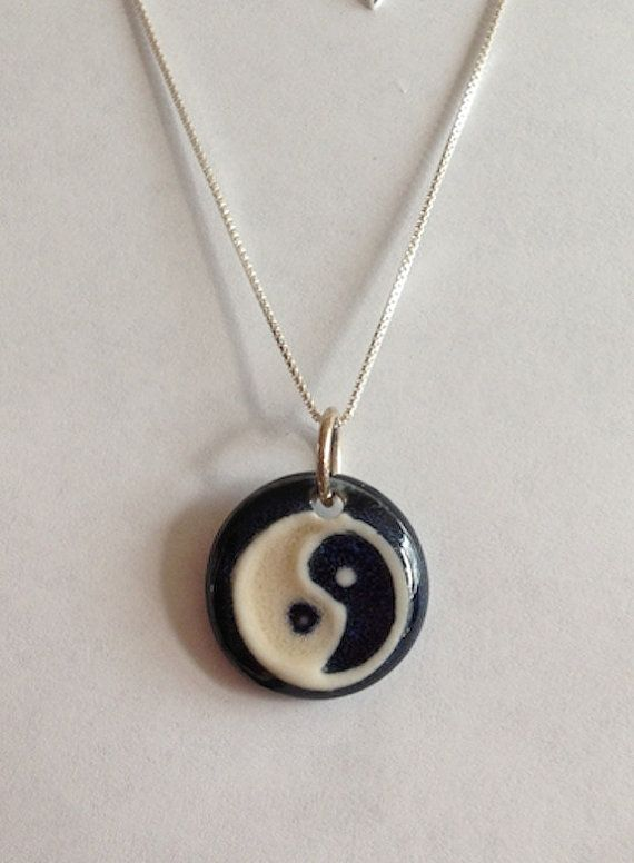 Ying Yang Hand Made Porcelain Pendant Yoga by PorcelainGemstoneART, $55.00