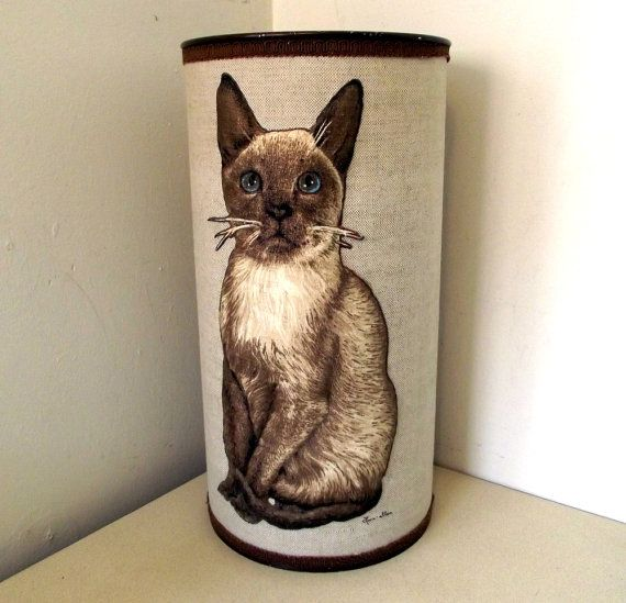 vintage siamese cat trash can