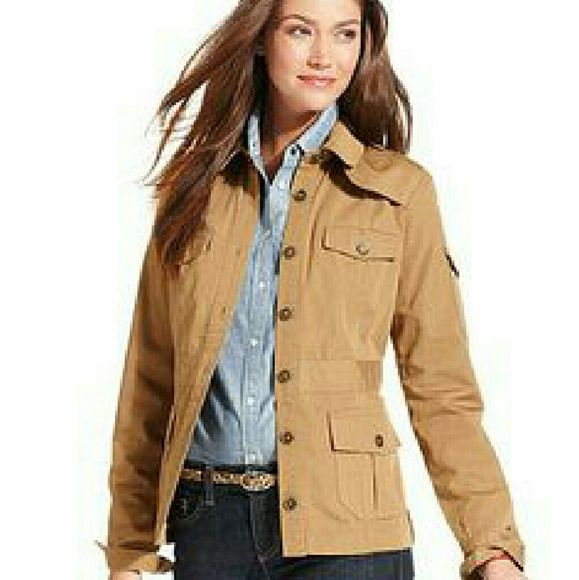 Tommy Hilfiger khaki utility jacket Great for spring time