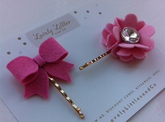 Items similar to Girl/baby hair bobby pin clip baby pink Blossom and dusky pink bow set. 100% wool felt. on Etsy