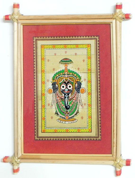 Jagannathdev+-+Wall+Hanging+(Orissa+Paata+Painting+on+Palm+Leaf+-+Framed))+
