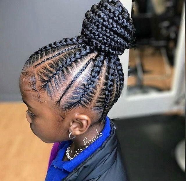 23 Most Beautiful Braided Hairstyles With Bun For Your Little Black Girls Cornrow Hairstyles Kids Hairstyles African Braids Hairstyles