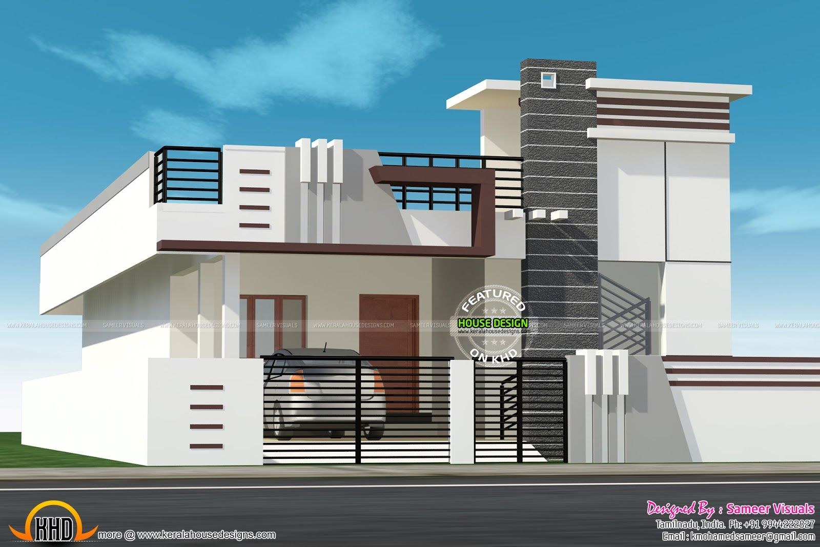 Front Elevation With Stilt Parking : Small house with car parking construction elevation