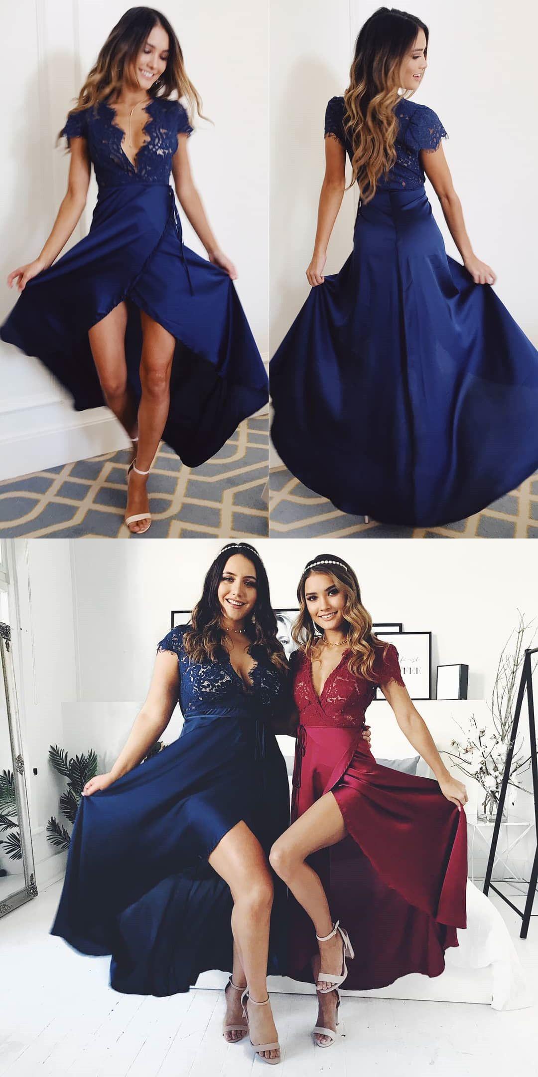 Cap Sleeves Navy Blue Long Prom Dress in 2019 | Dresses ...