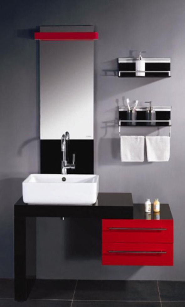 Awesome Wonderful And Fantastic Glossy Red Vanity Unit For Metropolis Bathroom Theme Best