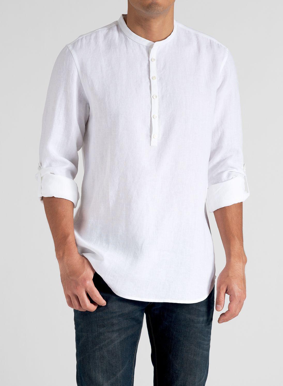 Linen Men Roll Up Sleeve Shirt White Shirt Men Banded