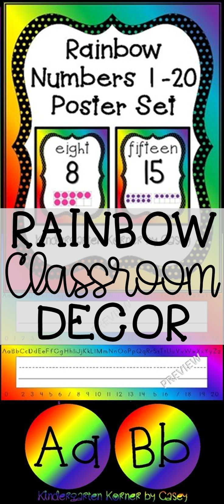Rainbow Classroom Decor SALE! Number Posters 1 20 with