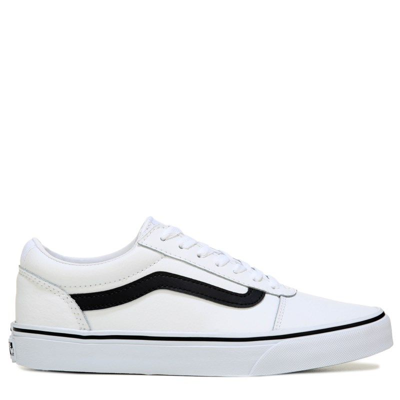Vans Men s Ward Low Top Leather Skate Shoes (White Black Leather) ba5f2ce3b
