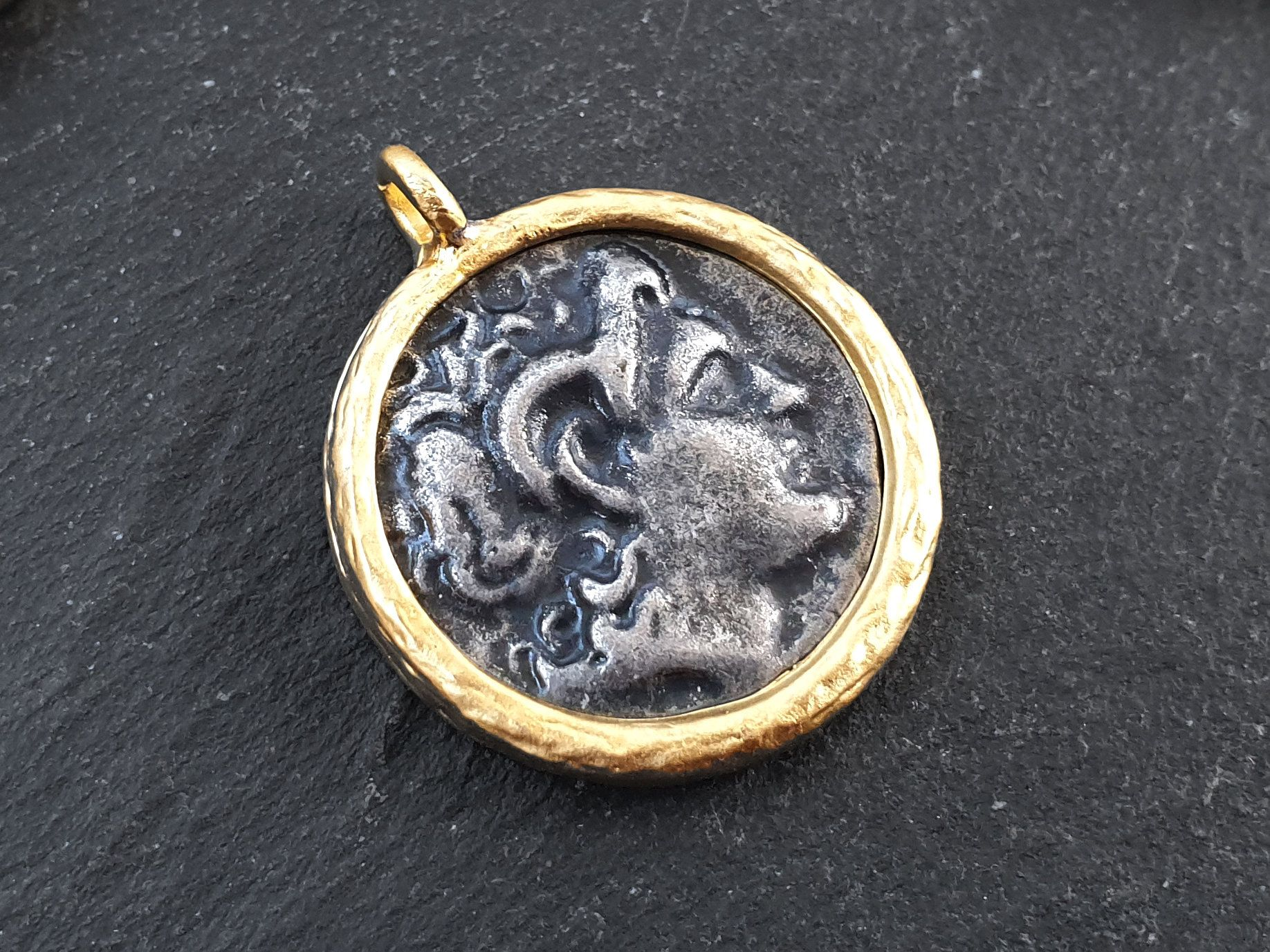 Gold Plated Bezel Greek Medallion Pendant Medallion Necklace Rustic Coin Silver Coin Pendant Silver Medallion Ancient Greek Coin 1 Pc