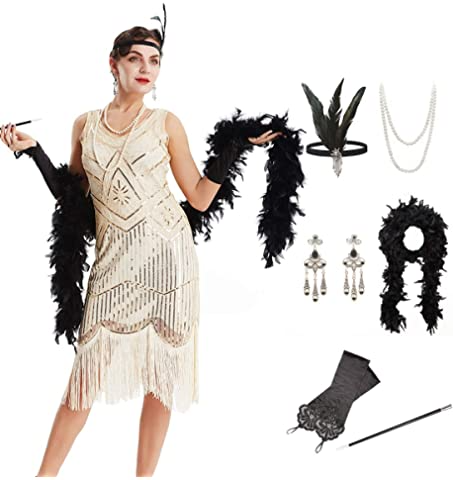 Coucoland Womens 1920s Flapper Sequin Beads Dress With Roaring 20s Gatsby Accessories Set For Party At Amazon Women S C In 2020 Beaded Dress Gatsby Accessories Dresses