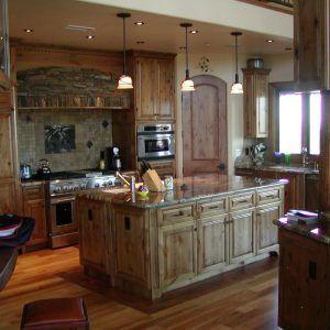 Knotty Alder Wood Kitchen Cabinets