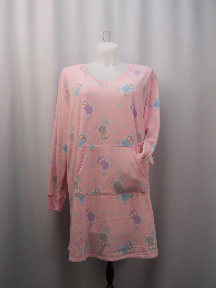 bad4def635 Soft Sensations Pink Long Sleeve V-Neck Warm Cozy Fleece Sleepshirt Plus  Size 3X  SoftSensations  Sleepshirt