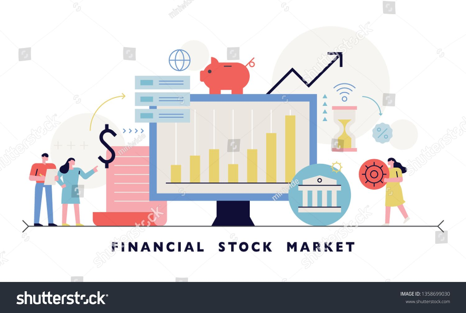 A Banner Layout Designed With A Financial Stock Market Icon Flat Design Style Minimal Vector Illustration Ad Affiliate In 2020 Layout Design Stock Market Banner