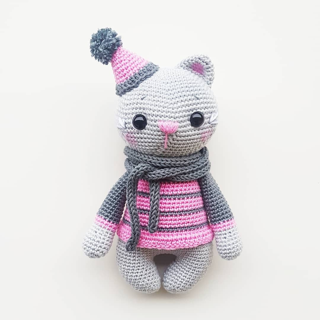 Magnífico Cat Crochet Patterns Bosquejo - Manta de Tejer Patrón de ...