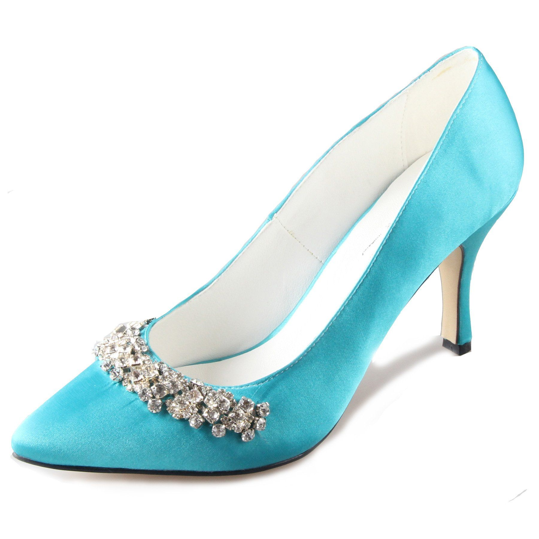 Creativesugar women\'s turquoise satin shoes with crystals (6 ...