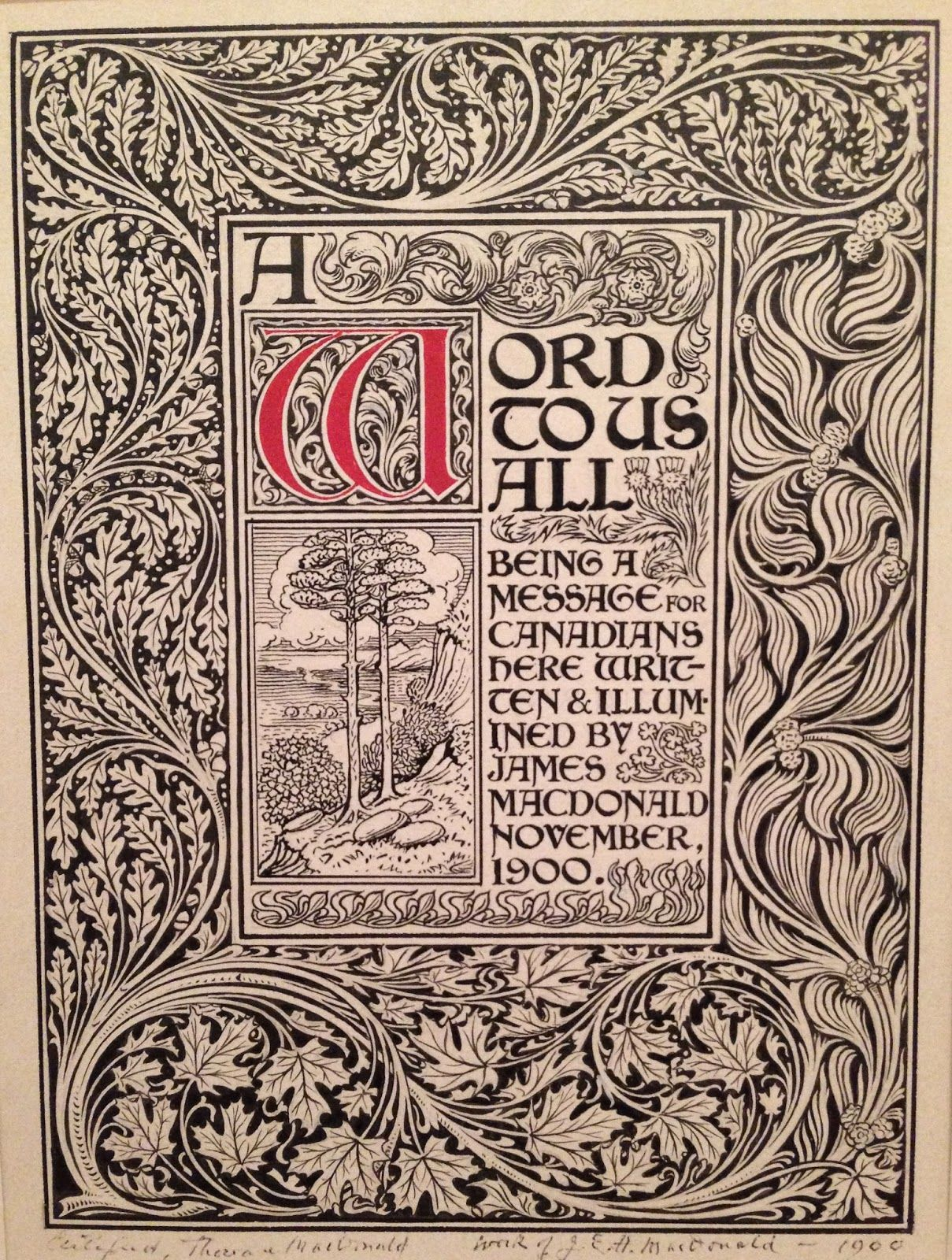 Illustrated By J E H Macdonald Ornamentation And Calligraphy In 1900 Ink And Goua Arts And Crafts Interiors Summer Arts And Crafts Arts And Crafts Furniture