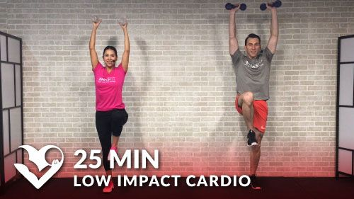 Beginner Difficulty with Low Impact Modifications Provided No jumping, no crawling down on the floor, and no high impact moves. This standing low impact cardio workout will get your heart rate up and burn calories without