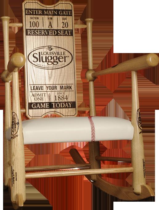 Lovely Original Custom Made Genuine Baseball Bat Rocking Chairs | Supple Rockers
