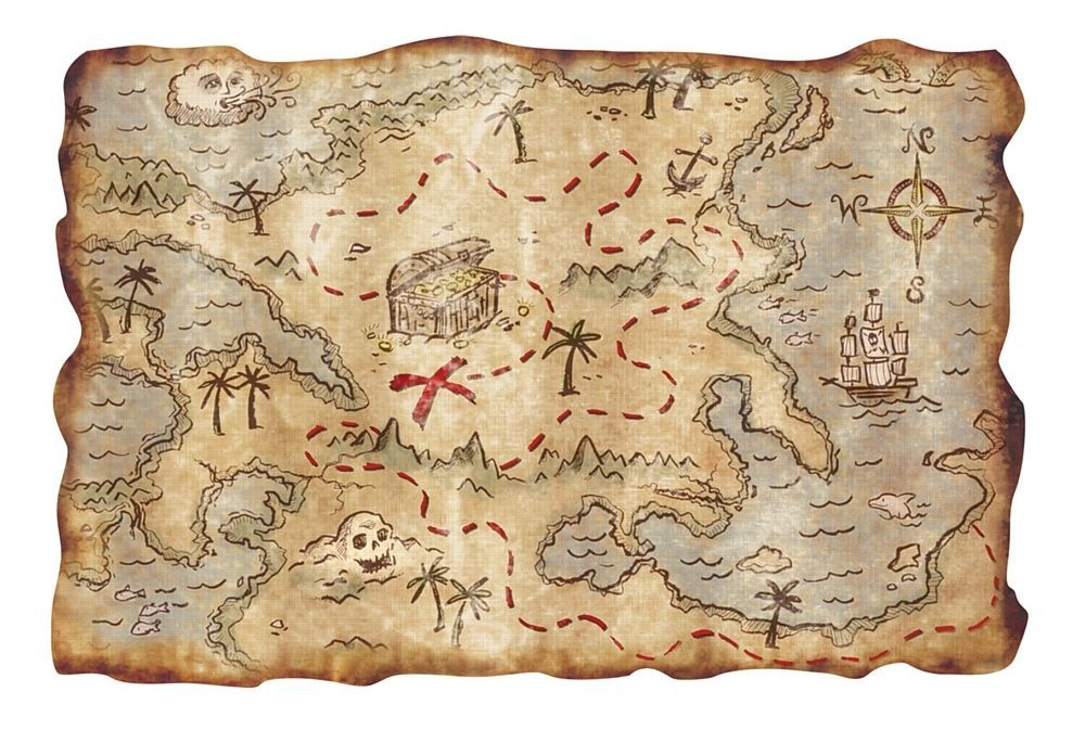 TREASURE MAP - PIRATE PARTY - DECORATION - ROLLED AND TIED