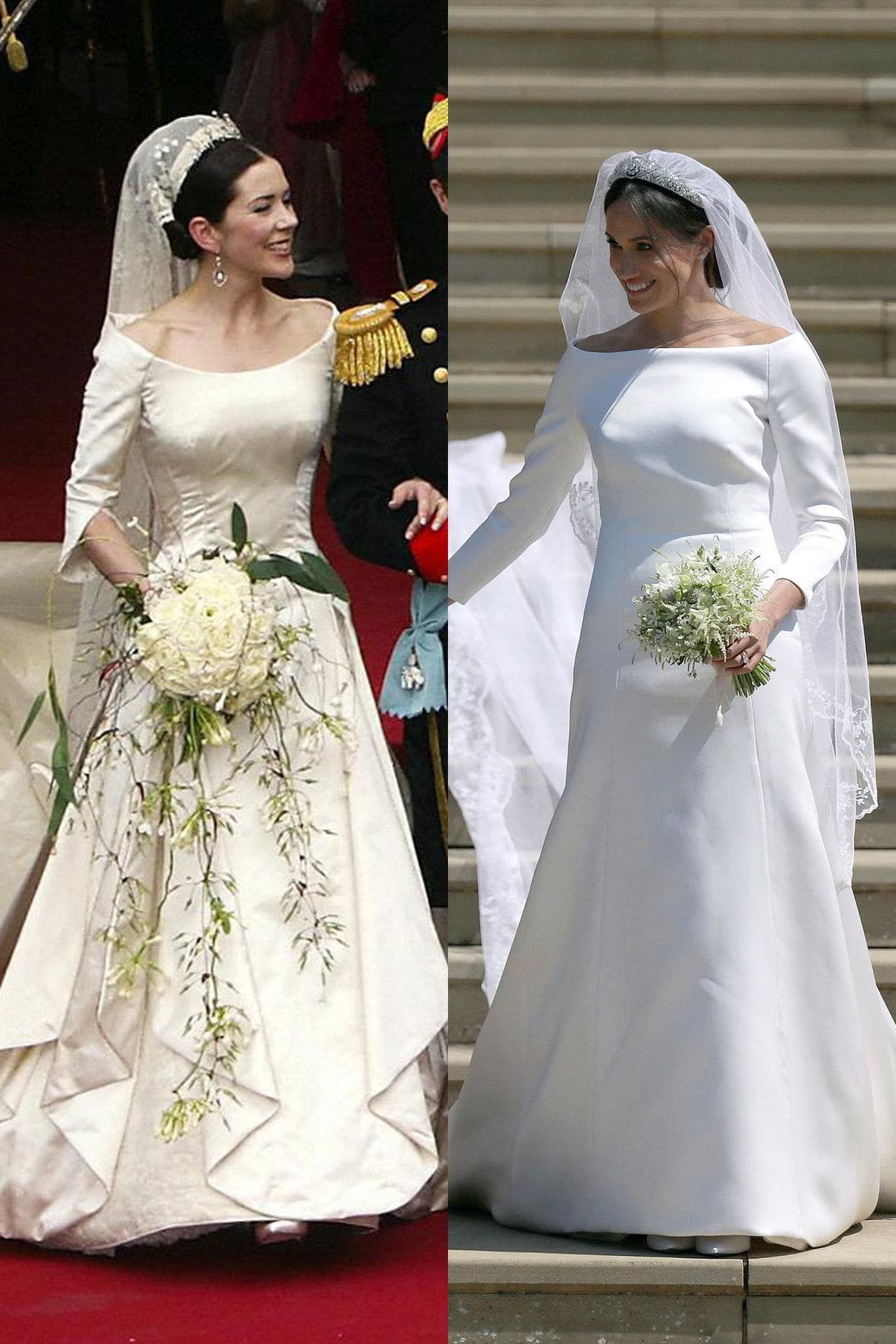 Was Meghan Markle Channelling Princess Mary With Her Wedding Dress Gorgeous Wedding Dress Wedding Dresses Dresses [ 1920 x 1280 Pixel ]