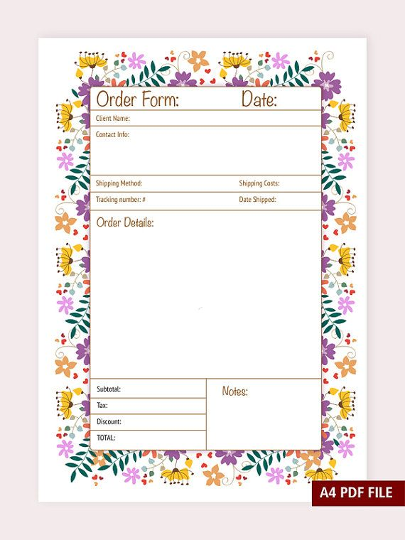 Order Form A4 And A5 Pdf File Instant Download