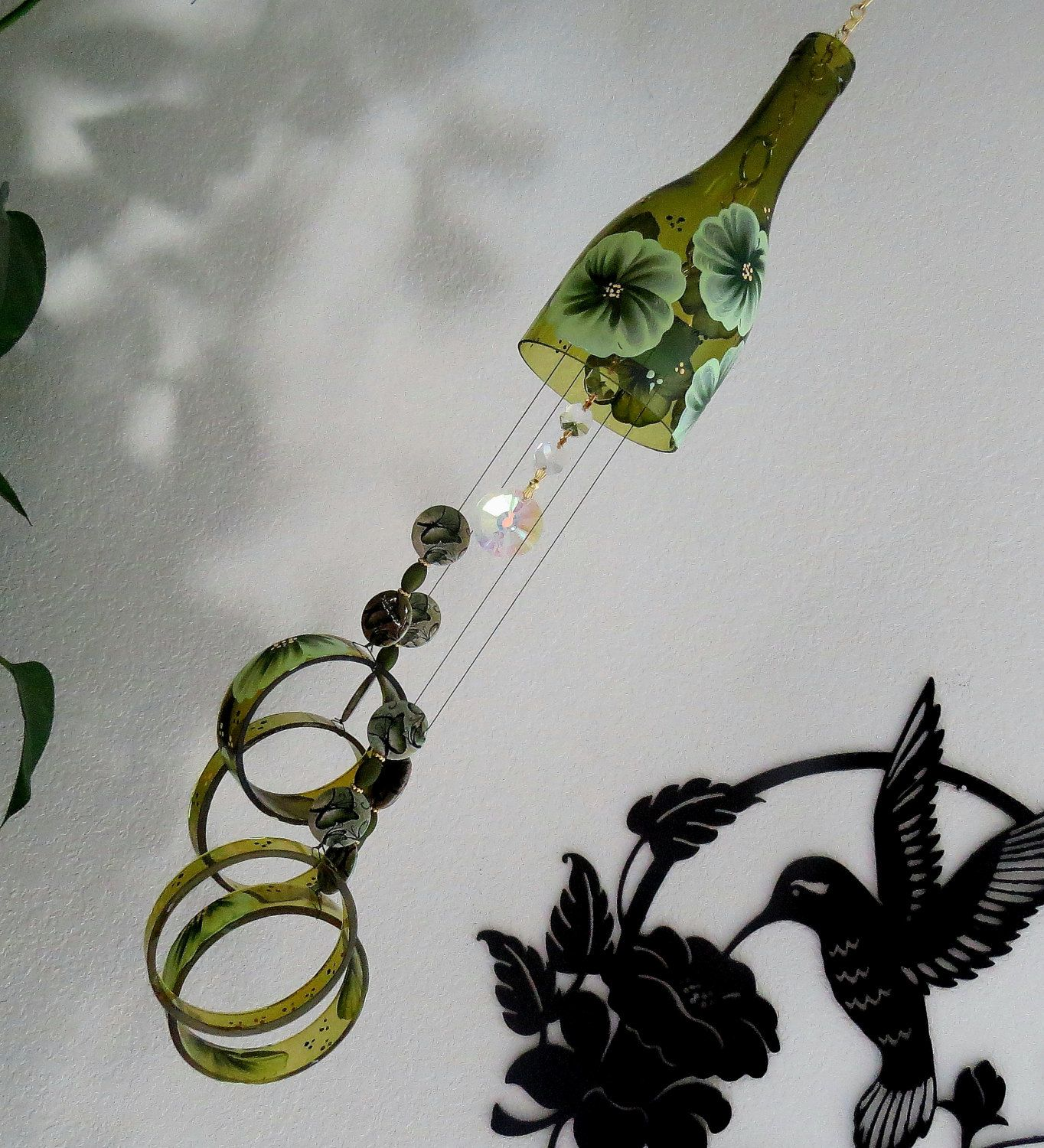 Wine Bottle Wind Chime, Amber Wind Chime, Green Flowers, Yard Art, Patio  Decor, Recycled Bottle Wind Chime, Hand Painted Chime