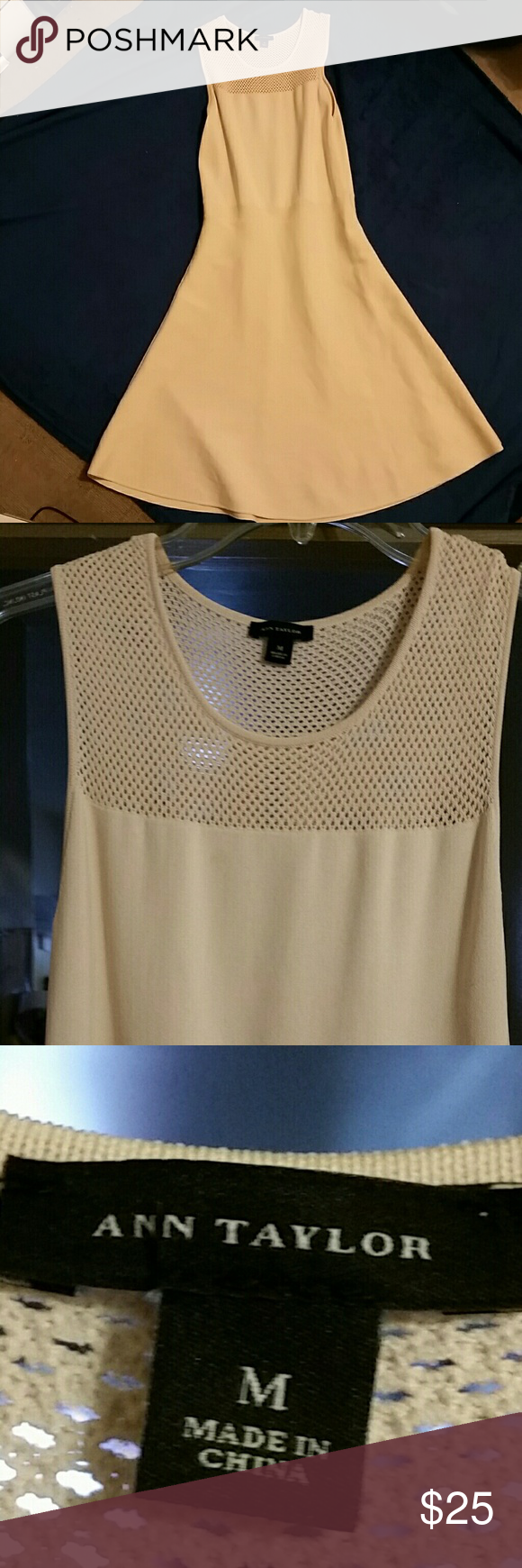 Ann Taylor Cream Cocktail Summer Dress Sleeveless cream colored summery cocktail dress. Fluted neckline with punch out feminine detail. Size 10 Ann Taylor Dresses Mini
