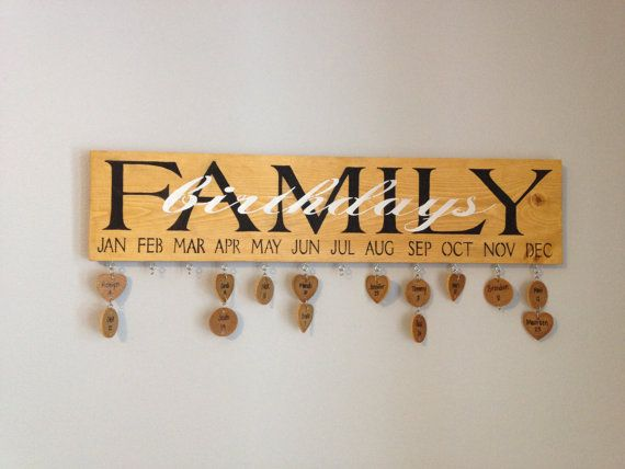 Never forget another birthday again!! A beautiful way to display all of your loved ones' birthdays on our Rustic Family Birthday Board! Customize yours today! https://www.etsy.com/listing/178376982/rustic-family-birthday-board?ref=listing-shop-header-0