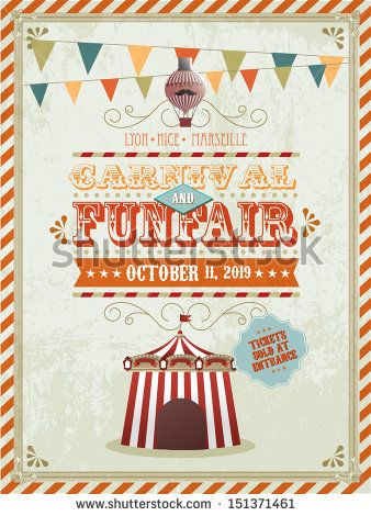 vintage fun fair and carnival poster template vector illustration