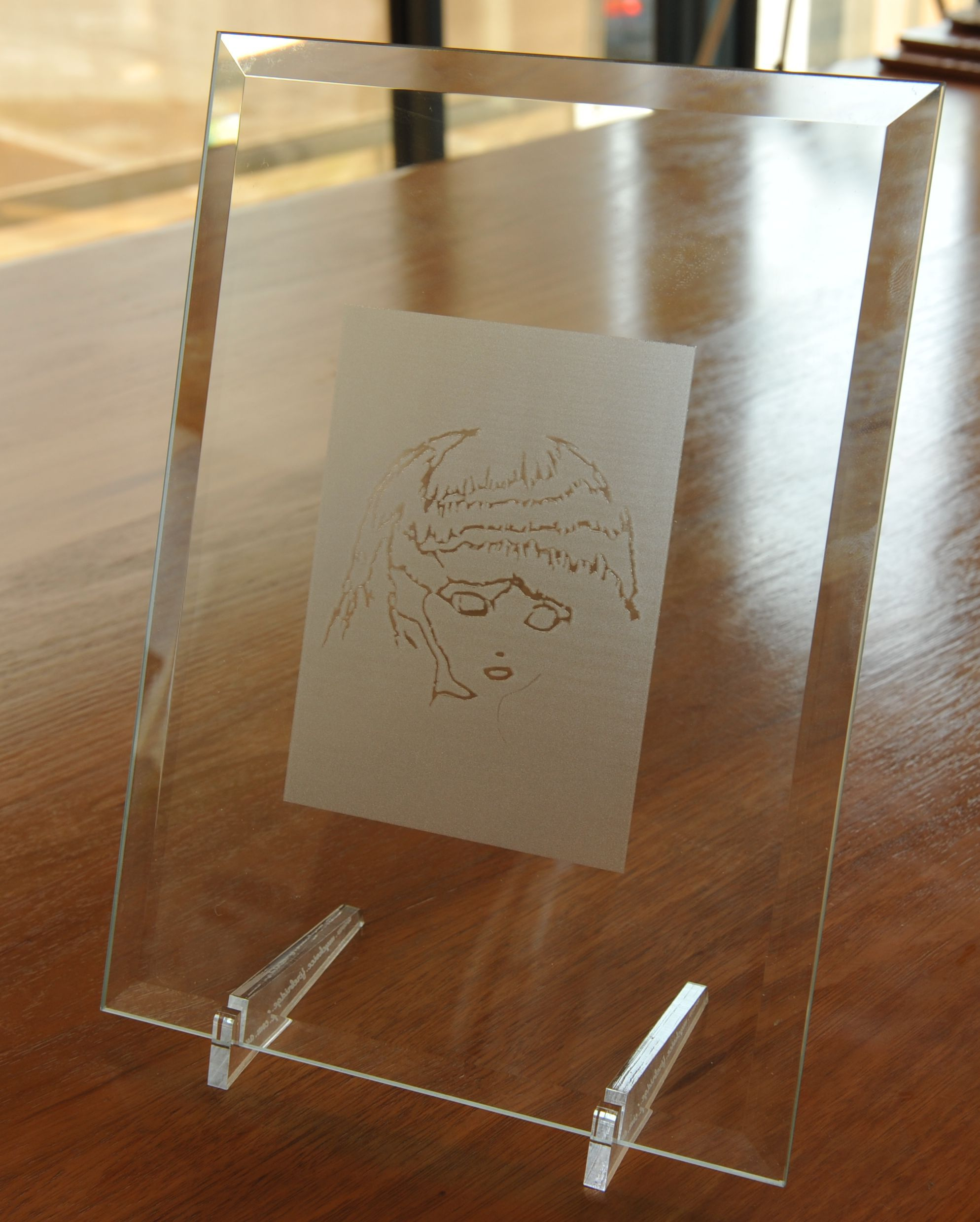 Bevel glass laser engraved art 275 x 200 mm clear acrylic stand. http://www.mychoice.firebridge.com.au/xcart/Glass-Photo-Frame-with-Photo-etched-into-glass-200-x-275-mm-8-x-11-p-17273.html