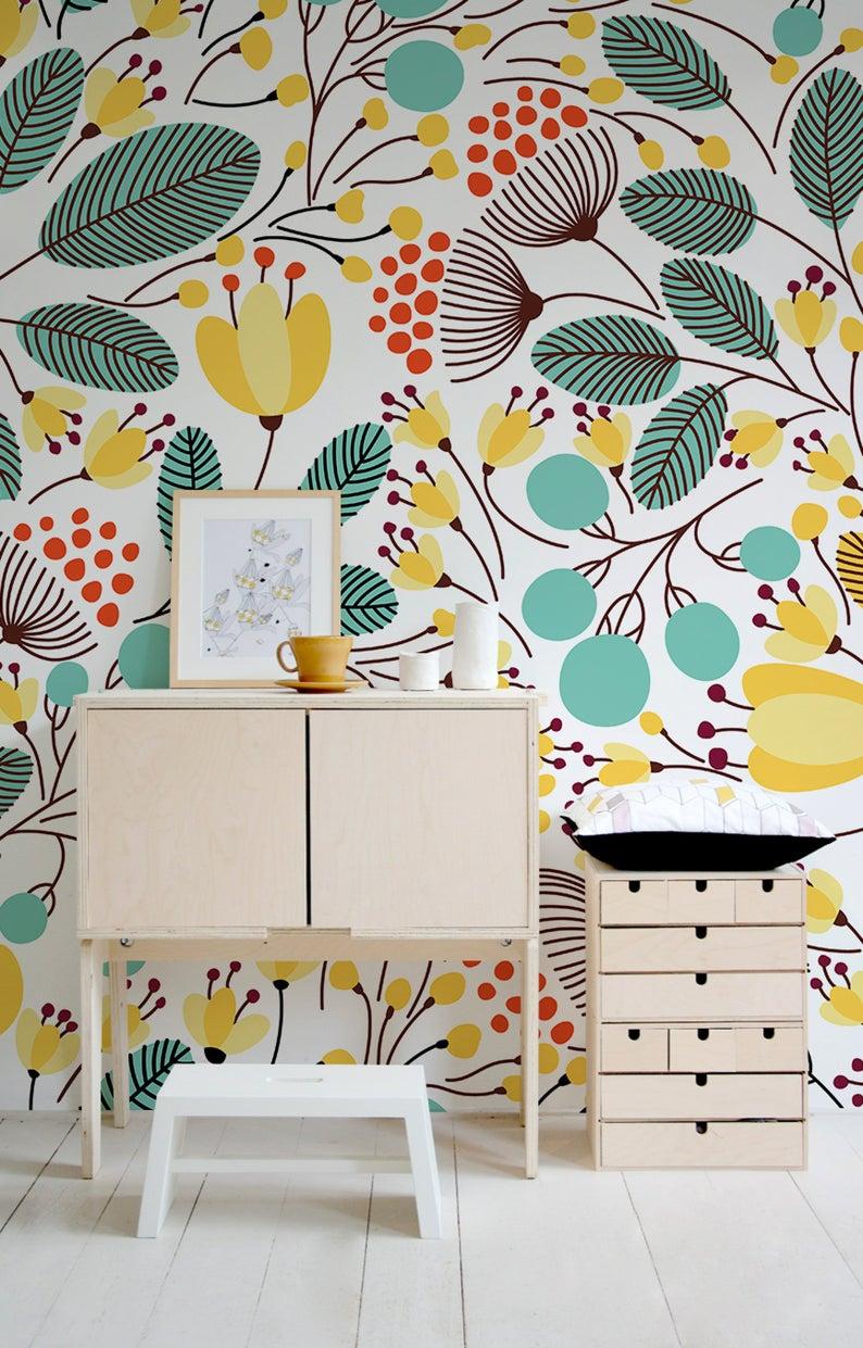Nursery Wallpaper Floral Wallpaper Removable Wallpaper Etsy In 2020 Home Wallpaper Romantic Bedroom Decor Wall Decor