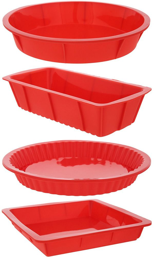 4 Piece Bakeware Set Baking Molds Nonstick Silicone Set With Round