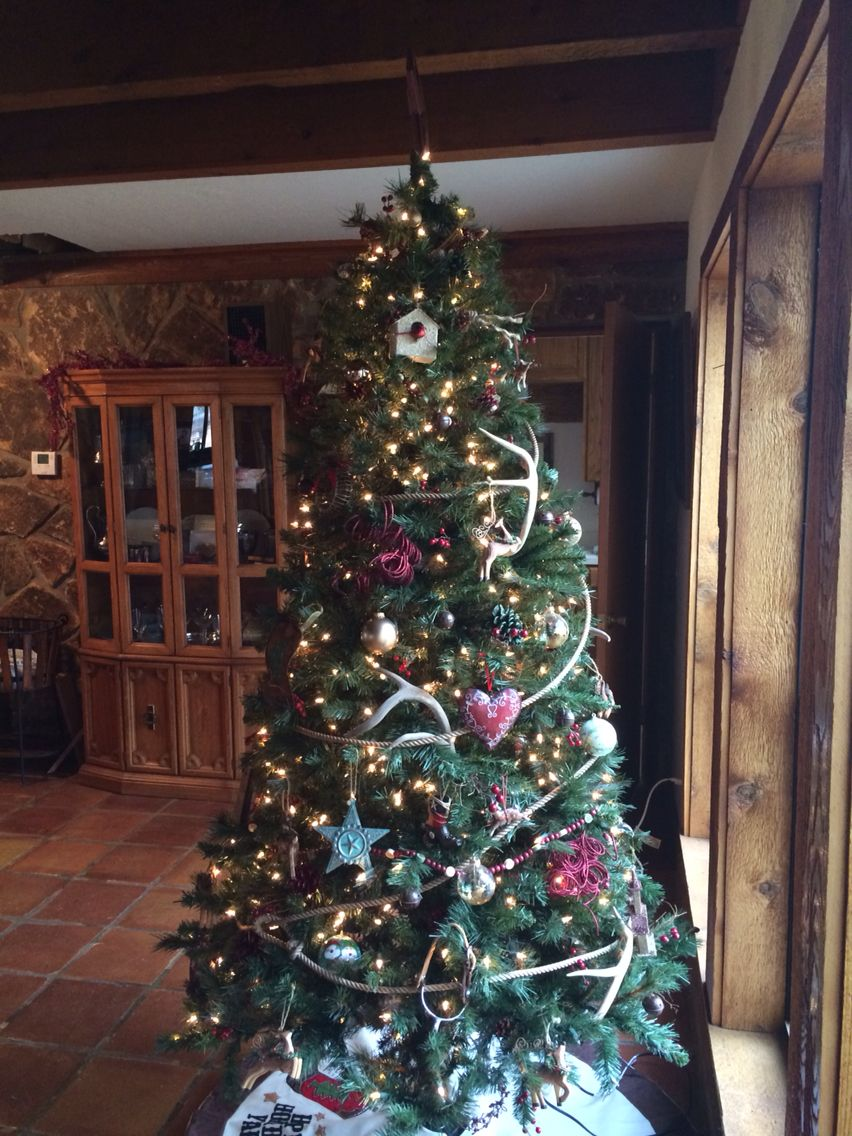 Country Christmas Tree With Rope Garland Deer Horns And Rustic Charm Country Christmas Trees Country Christmas Christmas Tree