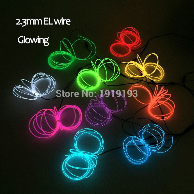 Hot 10 Colors Optional AC100-220V 2.3mm 15Meters EL wire rope tube ...