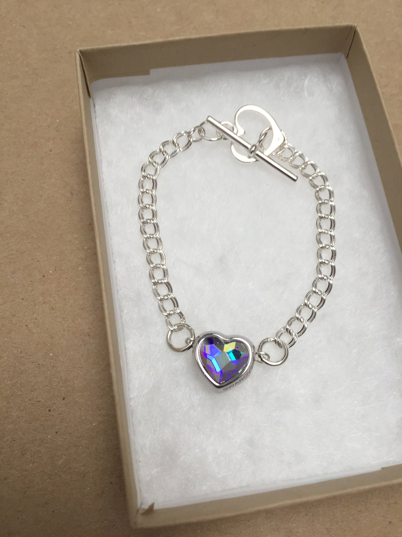 13fa72862 Swarovski Crystal Heart BeCharmed Bracelet, Handmade Sterling Silver Heart  Bracelet, Designer Swarovski Heart Bracelet, K Brown Jewellery by  KBrownJewellery ...