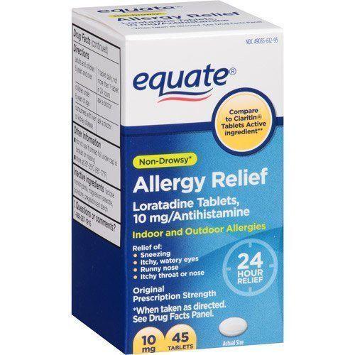 Loratadine 10mg Non Drowsy Allergy Relief Antihistamine Compare To Claritin Equate