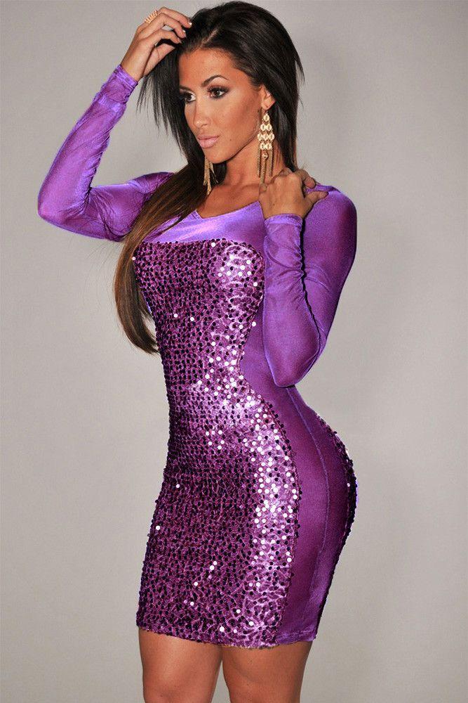 Stunner Sequined Sheer Long Sleeves Purple Bodycon Women Dress ...