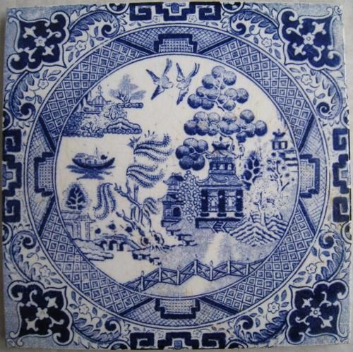 Mintons Blue White Willow Pattern Antique Ceramic Tile