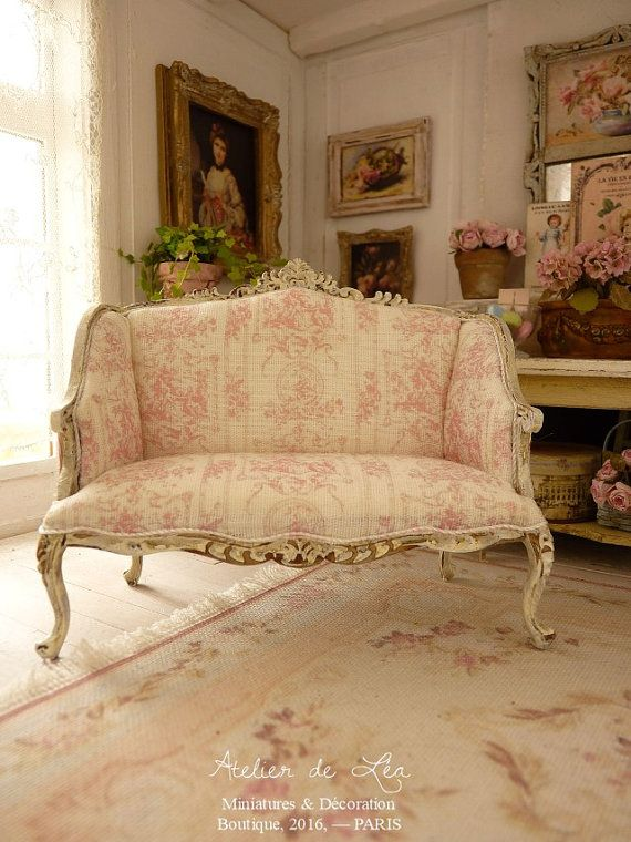 Miniature, French pink toile de Jouy, Shabby sofa in wood ...