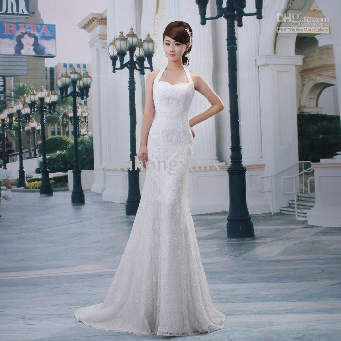 Fashion Halter Neck Fish Tail Slim Short Trailing Luxury Lace Bride Wedding Dress Formal