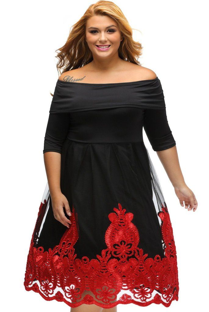 Red Lacy Embroidery Tulle Skirt Plus Size Skater Dress New In