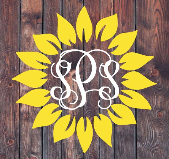 Sunflower Monogram Decal Lilly Pulitzer custom decal vine